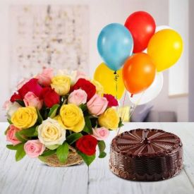 Bunch Of 12 Mixed Roses, 1/2 Chocolate Cake and 10 Balloon