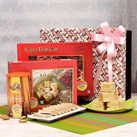 Kaju Barfi with Soan Papdi and Almonds in a Gift Box