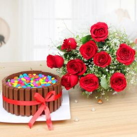 A bunch of roses with Kit Kat cake