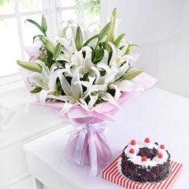 Lily Flowers with Black Forest Cake