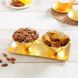 Kanha 500g Besan Barfi & 200g Almonds With Gold Plated Serving Set