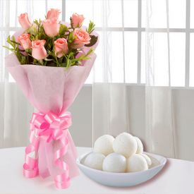 Pink roses with Loose Rasgulla