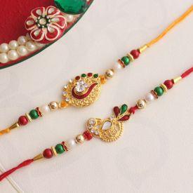 Rakhi Pooja Thalis-Golden Pearl Pooja Thali with Pearl Rakhi