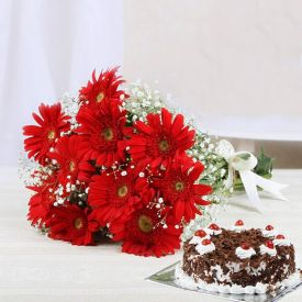 Gerberas With Cake