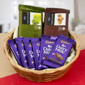 Basket of 2 temptation and 6 dairy milk Chocolates
