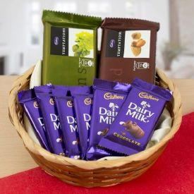 Basket of 2 temptation and 6 dairy milk Chocolates
