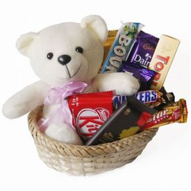 Branded Chocolate Basket with teddy