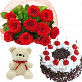 12 red rose 1 kg black forest cake & 6 inch teddy