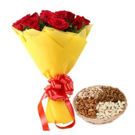 Roses With Mixed Dry Fruits