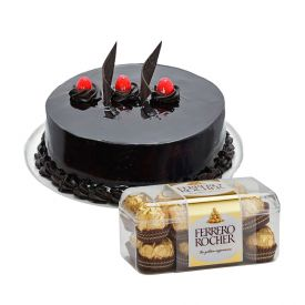 1 kg chcocolate truffle cake with 16 pieces ferrero rocher