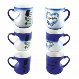 Blue Heart Shaped handle magic mug