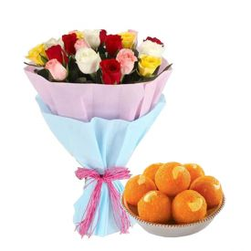 Bunch of 10 Mixed Roses with Motichur Laddoo