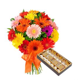 Bunch of 10 Mixed Gerbera and 1/2 Kg Mixed Sweets