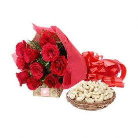 Bunch of Red Roses with Cashew Combo
