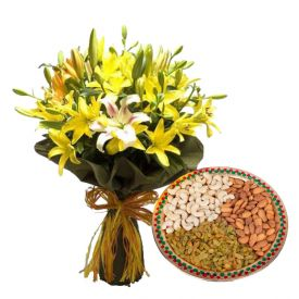 Vase of 10 Mixed Lilies With 1 Kg Dry Fruits