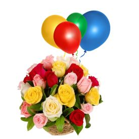 Basket of 20 Mixed Roses with 10 balloon