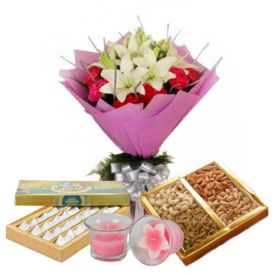 Flowers, Dry Fruits, Sweets and Candle