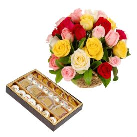 Basket of Mixed Roses with 1/2 Kg Mixed Sweets