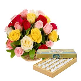 Basket of Mixed Roses and 1/2 Kg kaju Katli