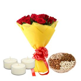 Flowers,Mixed Dry fruits and Diya