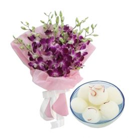 Bunch of 10 Purple Orchid and 1 Kg Rasgulla