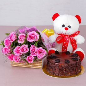 A bunch of 20 pink roses, 1 kg Chocolate cake and 6 inch teddy