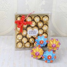 24 Pcs Ferrero Rocher With Diya