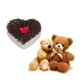 1Kg Heart Shape cake, 6inch Teddy Bear Couple