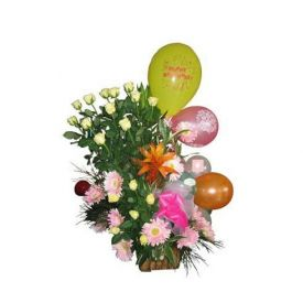 Basket of 50 mixed flowers with 50 Balloons