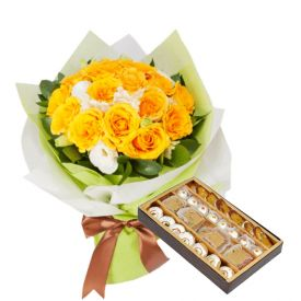 Yellow Roses with Mixed Sweets