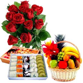 12 Red Roses with 1 Kg Mixed Sweets and 2 kg Mixed Fruits