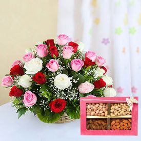 Mixed Dry Fruits And Mixed Roses With Basket