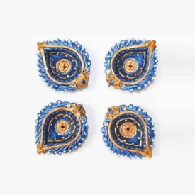 Set of 4 Colourfull Terracotta Table Diya Set