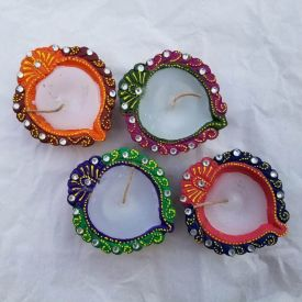 Colourfull Terracotta Table Diya Set