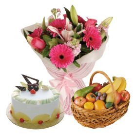 1/2 Kg Pineapple Cake,2 Kg Fruits and 12 Mixed Flowers