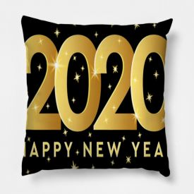 Orange New Year Cushion Cover