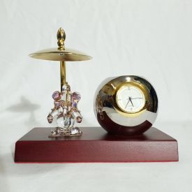 Table Clock Pen Stand with Ganesha