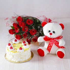 20 Red Roses, Pineapple Cake With Teddy