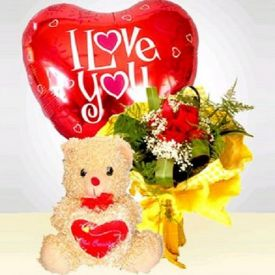12 Roses Bouquet,10 Pcs Balloon and 6 Inch Teddy Bear