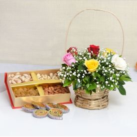 Mixed Roses with Dry Fruits and Cracker