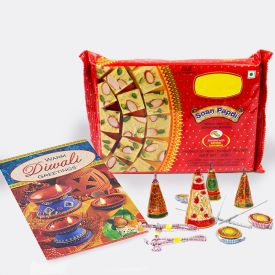 Soan Papdi With Crackers and Greeting Card