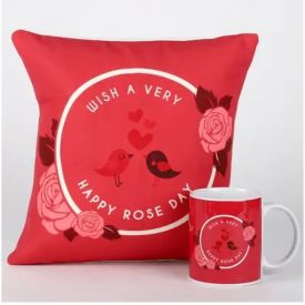 Rose Day Cushion and Mug