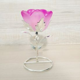 Pink Rose Design Crystal Candle Holder