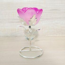 Pink Rose Design Crystal Candle Holder