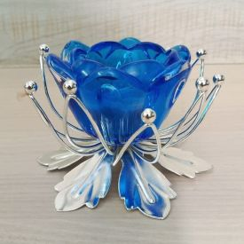 Blue Lotus Design Crystal Candle Holder