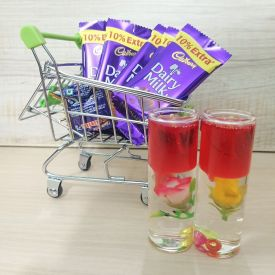 Candle with Trolly of chocolaates
