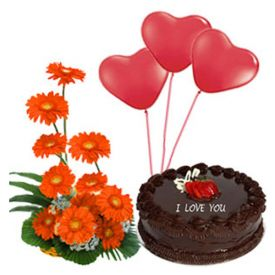 1/2 kg chocolate cake, 3 heart shaped balloons and 10 gerberas