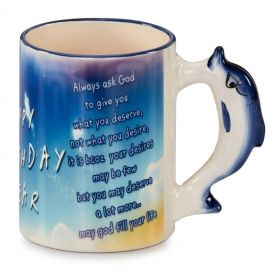 Happy Birthday Mugs with dolphin handle