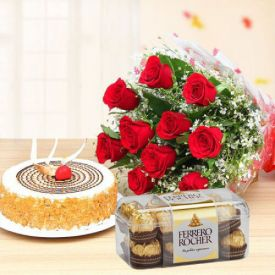 10 Red roses , Butter scotch cake and Ferrero Rocher