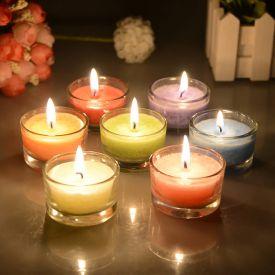 Multi Colour Glass Candle
